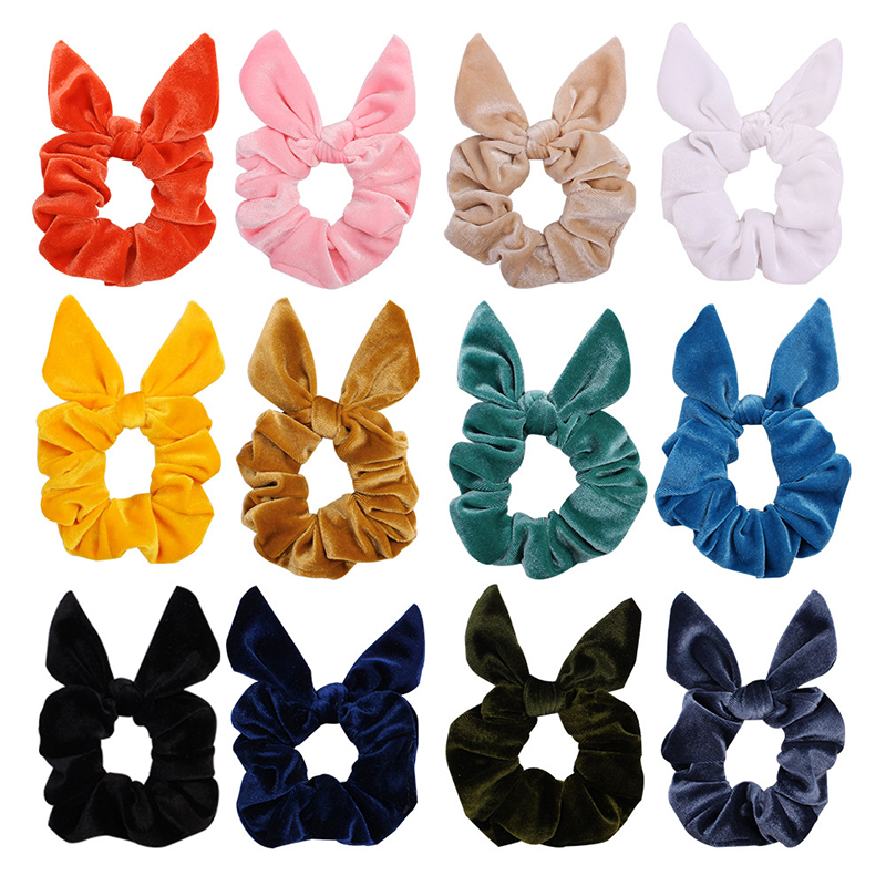 Cute 1Pc Vintage Hair Scrunchies Lady Stretch Bunny Ear Scrunchie Velvet Women Elastic Hair Bands Girl Ponytail Holder Hair Ties