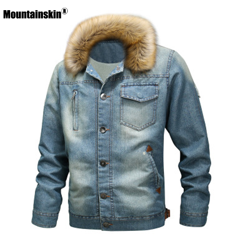 Mountainskin Men's Thick Denim Jacket Winter Autumn Mens Fur Collar Velvet Coat Male Fashion Windproof Denim Coat S~6XL SA814