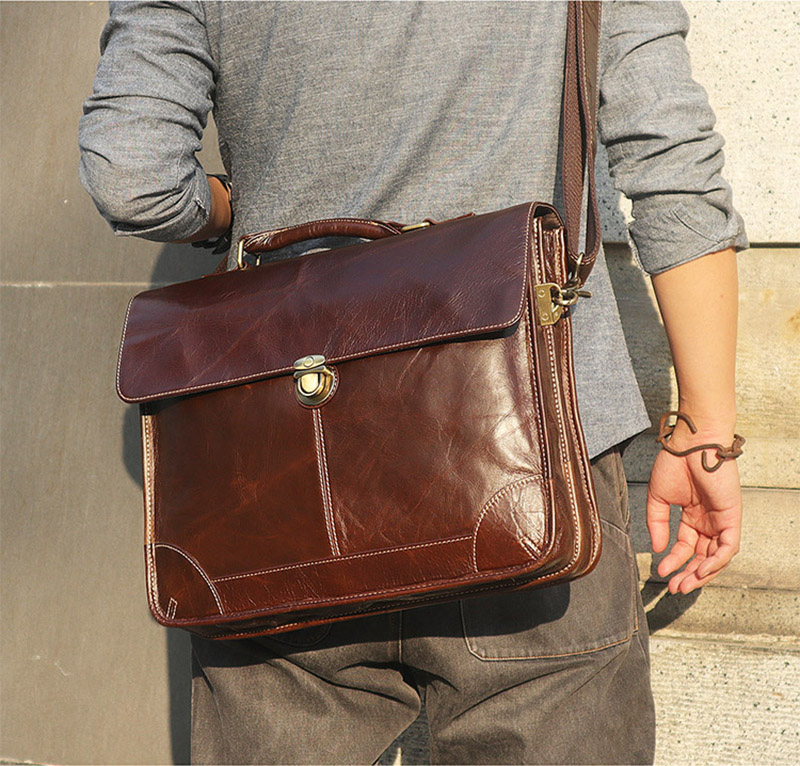 """H5b9ad958de0b4388a1104c13c36e9a2b5 Men's genuine leather briefcase 16"""" Big real leather laptop tote bag Cow leather business bag double layer messenger bag"""