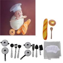 Baby Photography Props Little Chef Hat White Stretch Wrap Little Cook Creative Props Newborn Photography Accessories(China)