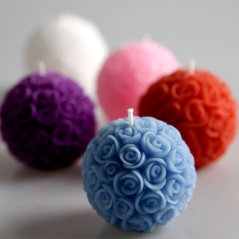 4pcs Wedding decorative candles romantic rose ball flower candle for birthday party wedding favors and gifts wedding supplies Pakistan