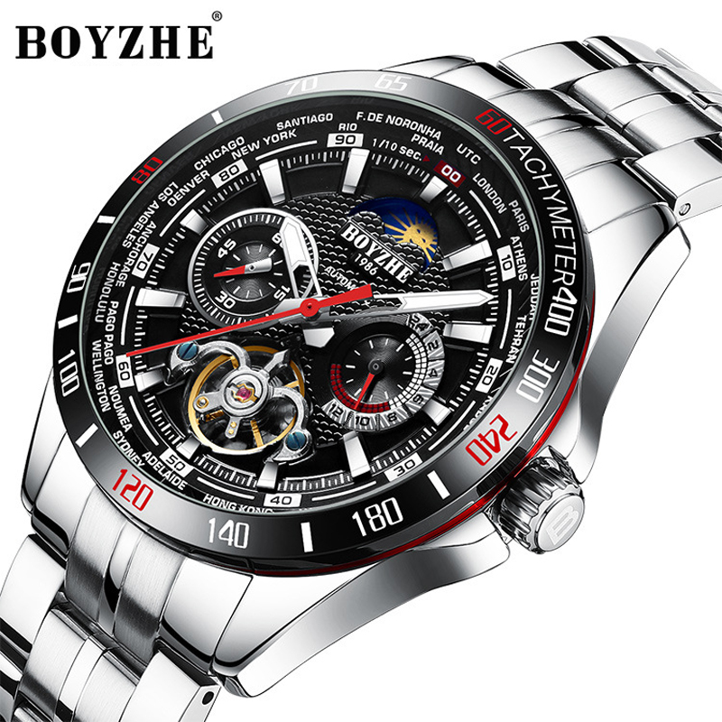 BOYZHE Mechanical Watch Men Stainless steel Waterproof Complete Calendar Military Automatic Tourbillon Watches Montre Relogio