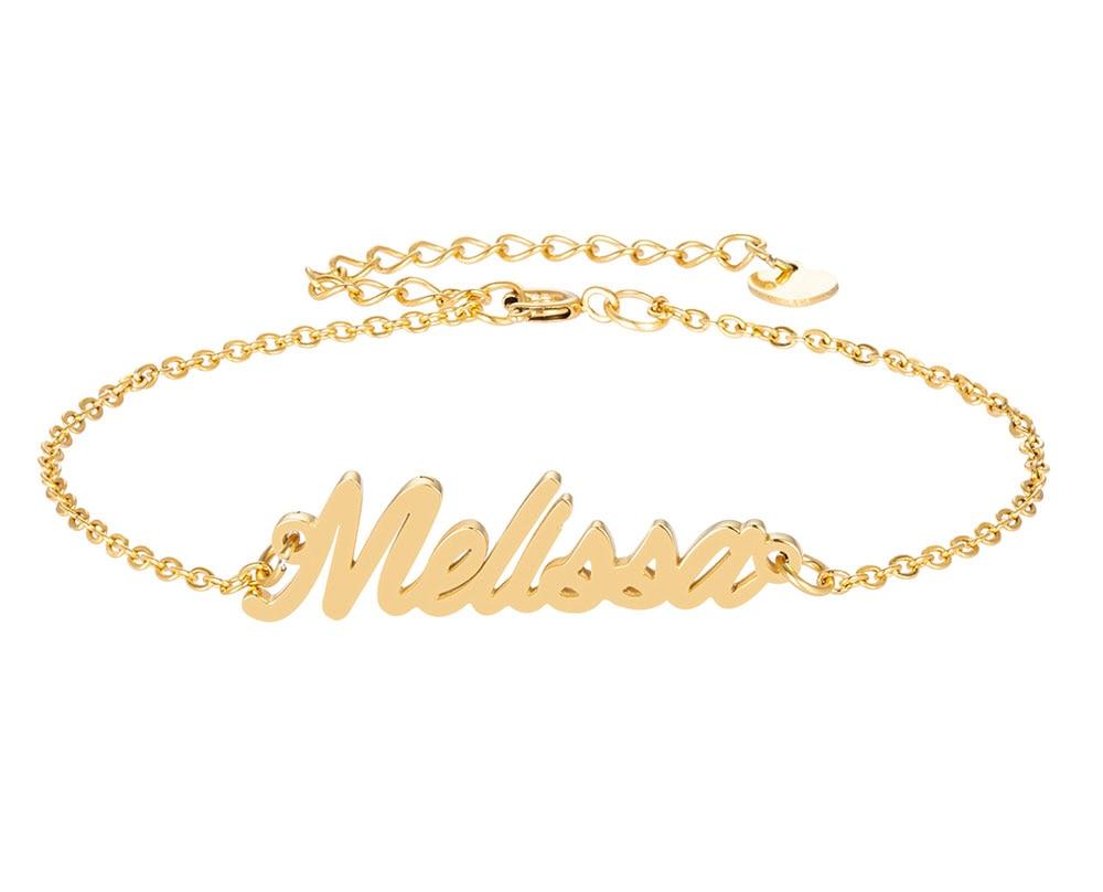 Melissa имя браслет для женщин, ювелирные изделия для девушек, из нержавеющей стали, покрытой 18k позолоченный кулон-табличка с именем Femme Mother, по...