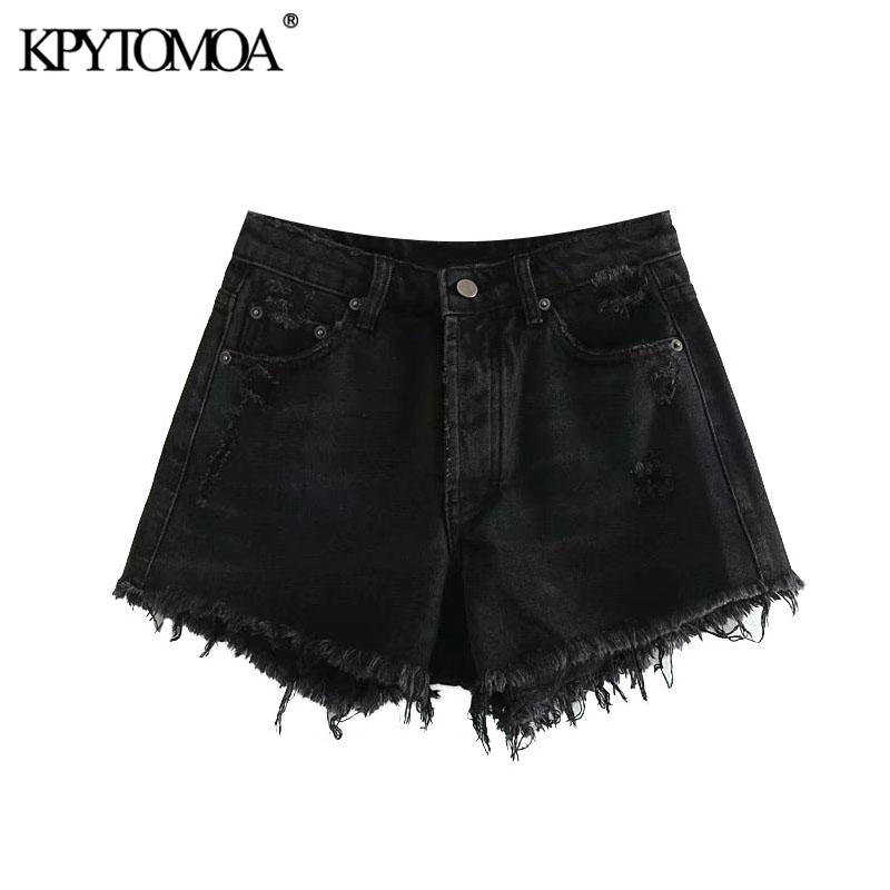 KPYTOMOA Women 2020 Chic Fashion Ripped Hole Frayed Trim Denim Shorts Vintage High Waist Buttons Fly Female Short Pants Jean