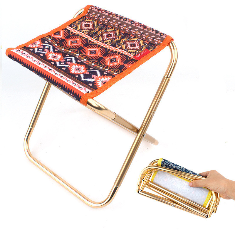 Ultra-light Aluminum Alloy Outdoor Portable Folding Stool, Foldable Fishing Camping Chair, Picnic BBQ Beach Seat, Storage Bag