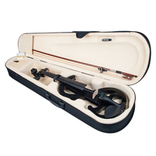 Full Size Electric Silent Violin with Carrying Case Rosin Bow Headphone, Black