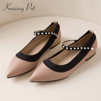 Krazing pot cow leather mixed colors Mary janes shoes pearl buckle straps pointed toe low heels fashion sweet ladies pumps L21