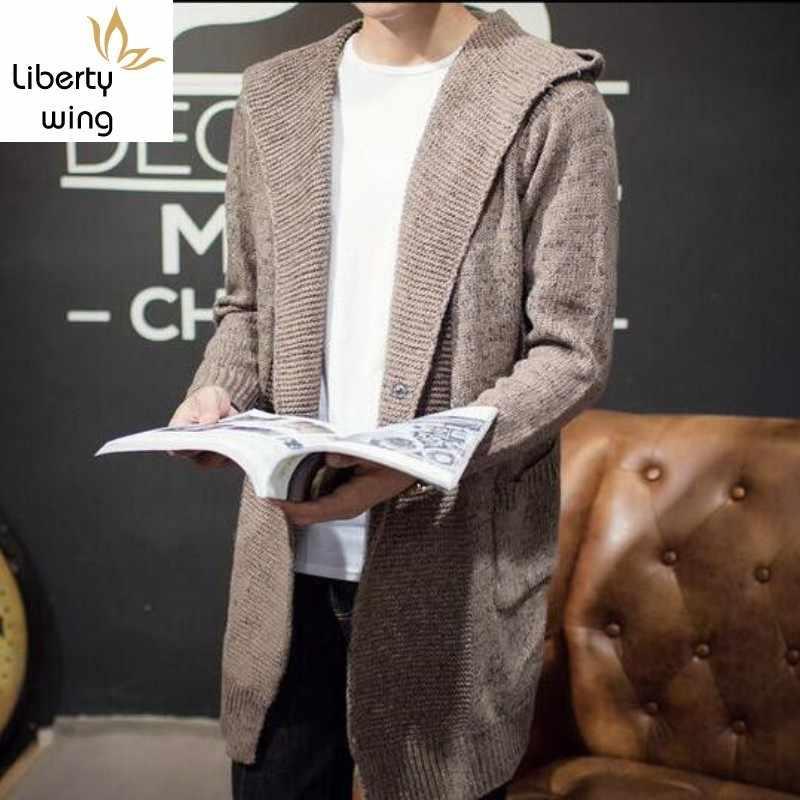 高品質メンズ秋ニットフード付きカーディガン男性ファッションカジュアルロングフィット生き抜くキャップコートサイズ M-2xl