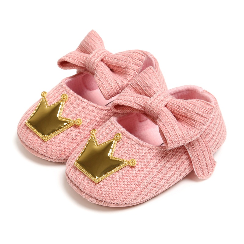 Kintting Genuine Cotton Baby Boys Grils Shoes Baby Moccasins Crown And Stars Soft Bottom First Walkers Bownot Shoes