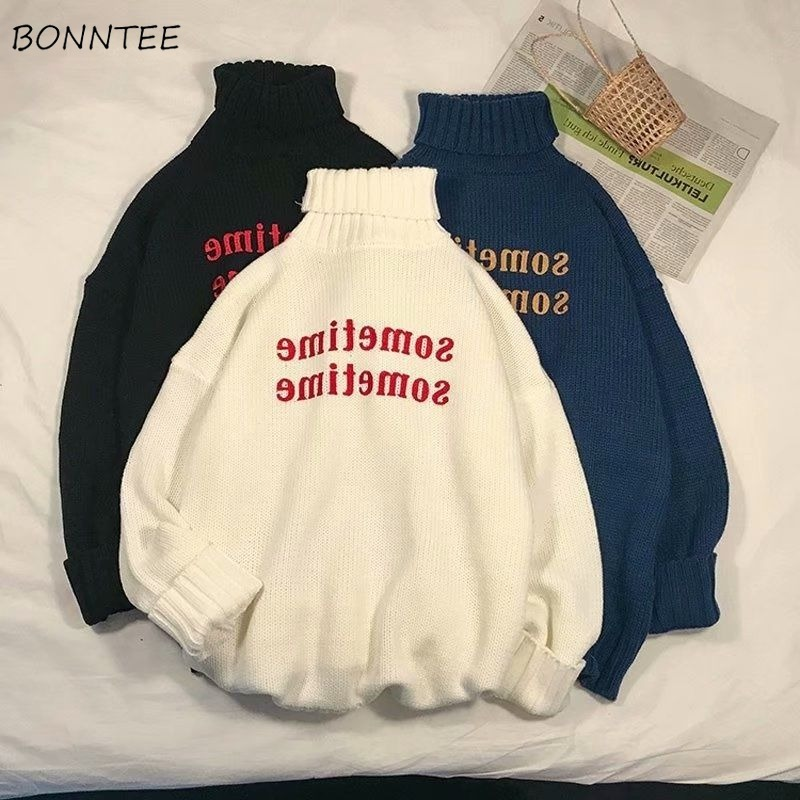 Turtleneck Sweaters Women Letter Printed All-match BF Loose 2XL Knitting Unisex Couples Womens Top Korean Fashion Harajuku Daily