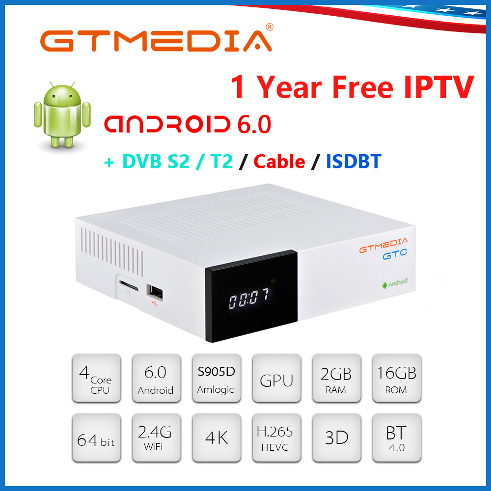 GTMEDIA GTC Smart <font><b>TV</b></font> <font><b>BOX</b></font> <font><b>Android</b></font> 6.0 <font><b>DVB</b></font>-<font><b>T2</b></font>/<font><b>S2</b></font>/Cable ISDBT 2GB/16GB+1year IPTV CCCAM H.265 4K 2.4GHz WiFi PK H96 <font><b>Android</b></font> <font><b>TV</b></font> <font><b>BOX</b></font> image