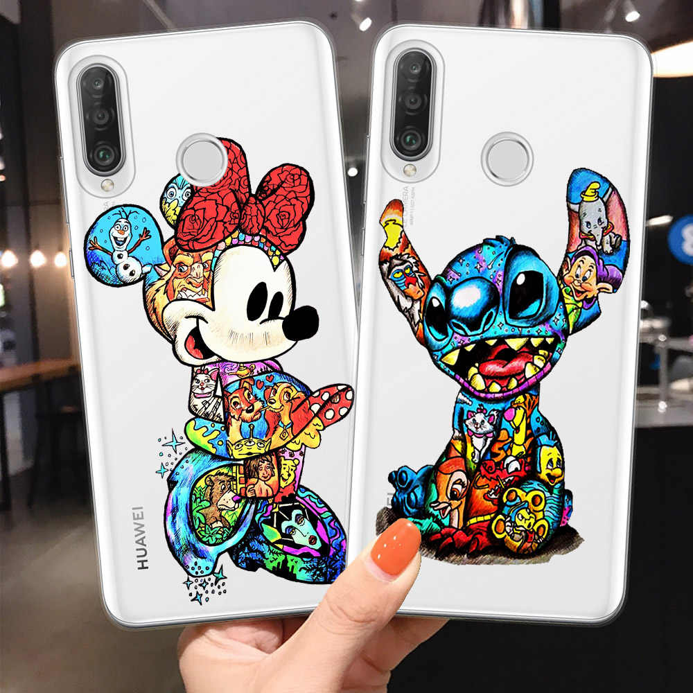 Joker Minnie Stitch Marvel untuk Fundas Huawei P30 P20 Mate 20 30 Lite Pro P8 P9 P10 Lite 2017 Telepon case Cover Coque Deadpool