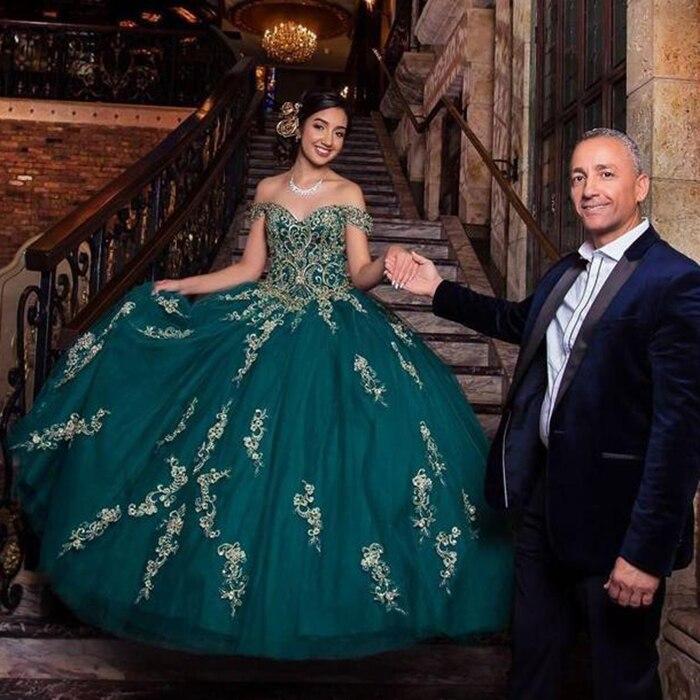 Hunter Green hors de l'épaule Quinceanera robes robe de bal 2019 Vintage perles paillettes Tulle doux 15 robe vestidos de Novia