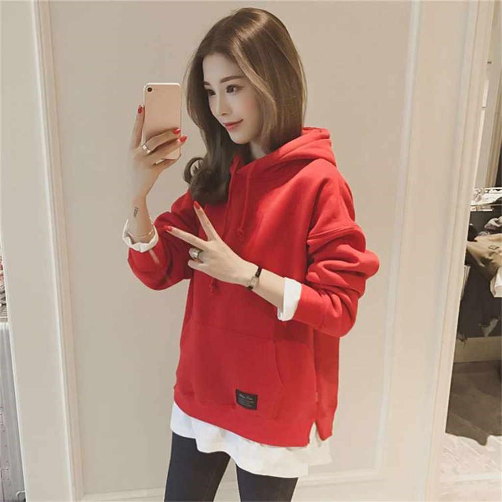 Korea Wanita Sweatshirt Autumn Winter Beludru Empuk Hoodie Harajuku Solid Longgar Saku Lengan Panjang Berkerudung Pullover Atasan Kpop