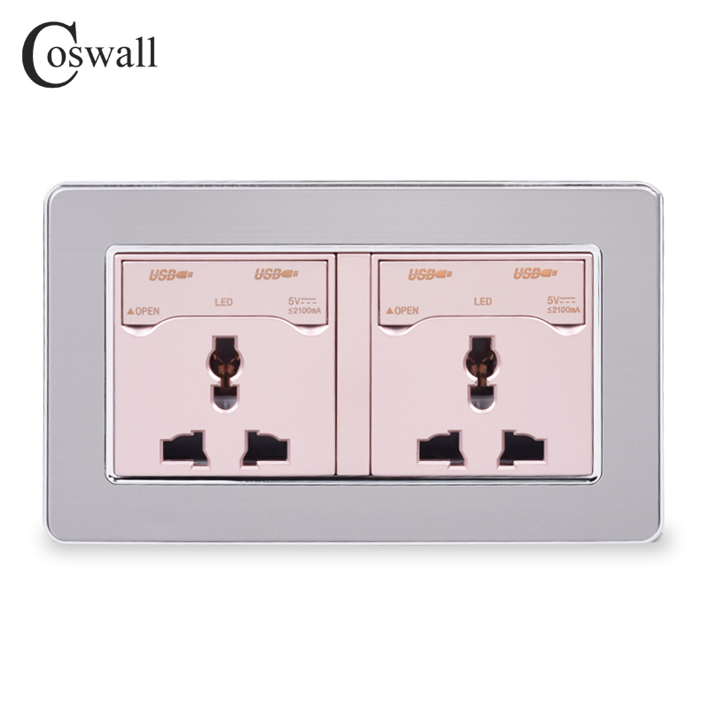 COSWALL 2 Gang 13A Universal Wall Power Socket + 4 USB Charge Port With LED Indicator Stainless Steel Panel With Dust-proof Lid