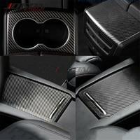 3pcs עבור טסלה דגם S X 2014 2020 רכב המרכזי מסוף פנל מים מחזיק כוס מושב אחורי משענת airvent כיסוי לקצץ אמיתי פחמן|מדבקות לפנים הרכב|רכבים ואופנועים -