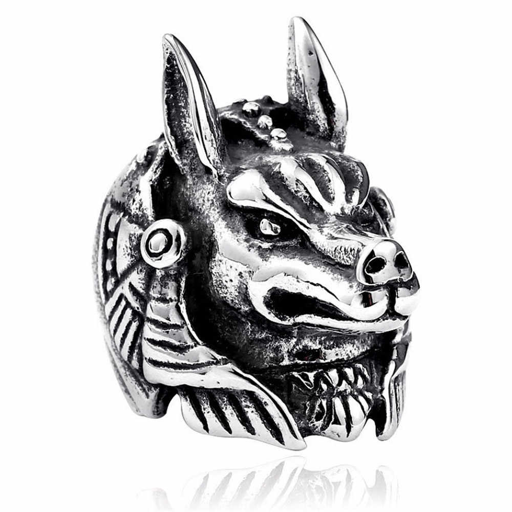 Ring For Men Gothic Punk  Retro Male Ring Adjusta Exaggeration Ferocious Snake Wolf Lion Tiger Bulldog Exquisite Alloy