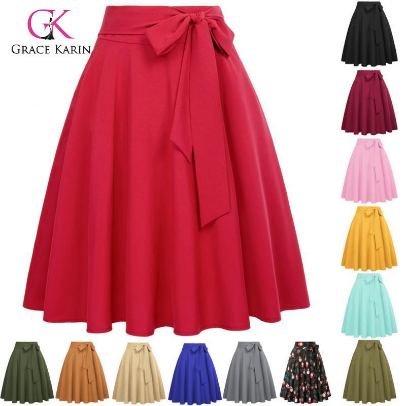 Grace Karin Women High Waist A-Line Skirt With Pocket Vintage Self-Tie Bow-Knot Flared Midi Skirt Solid Color Skater Swing Skirt