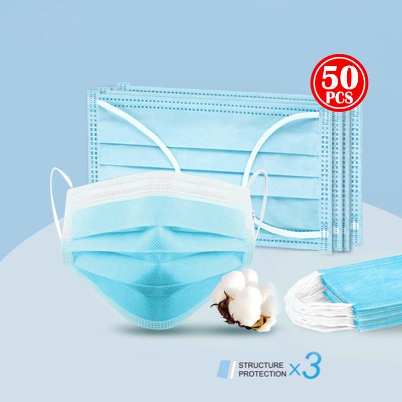 Горячая Распродажа 50 шт одноразовые маски 3 слоя защиты PM2.5 Одноразовые эластичные мягкие дышащие противовирусные маски для лица