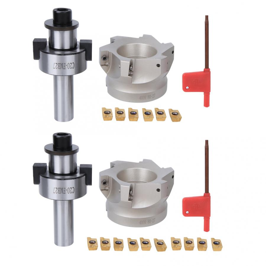 Face Mill Cutter,NT30-FMB27 Collet Chuck Holder+BAP400R-80-27-6-Flute Milling Cutter+APMT1604 Inserts 10PCS Milling Inserts