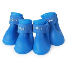 New pet silicone rain boots four dogs non-slip candy color shoes wear waterproof suitable for small and medium dogs цена