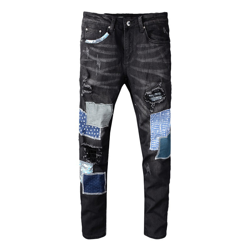 Sokotoo Men's Black Patchwork Ripped Jeans Streetwear Patch Design Stretch Denim Pants Slim Skinny Trousers