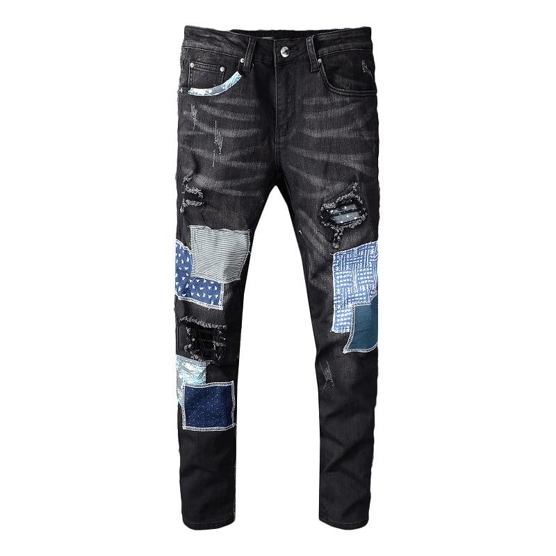 Sokotoo Men's Black Patchwork Ripped Jeans Streetwear Patch Design Stretch Denim Pants Slim Skinny Trousers