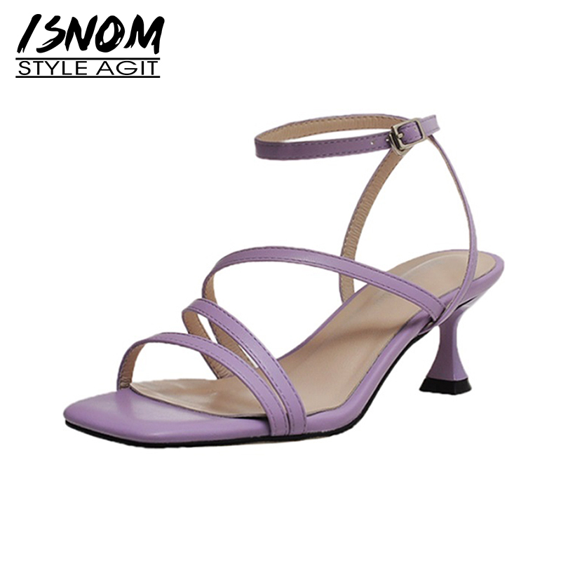 ISNOM Gladiator Sandals Women Genuine Leather Summer High Heels Shoes Woman Dress Ladies Sandals Strappy Open Toe