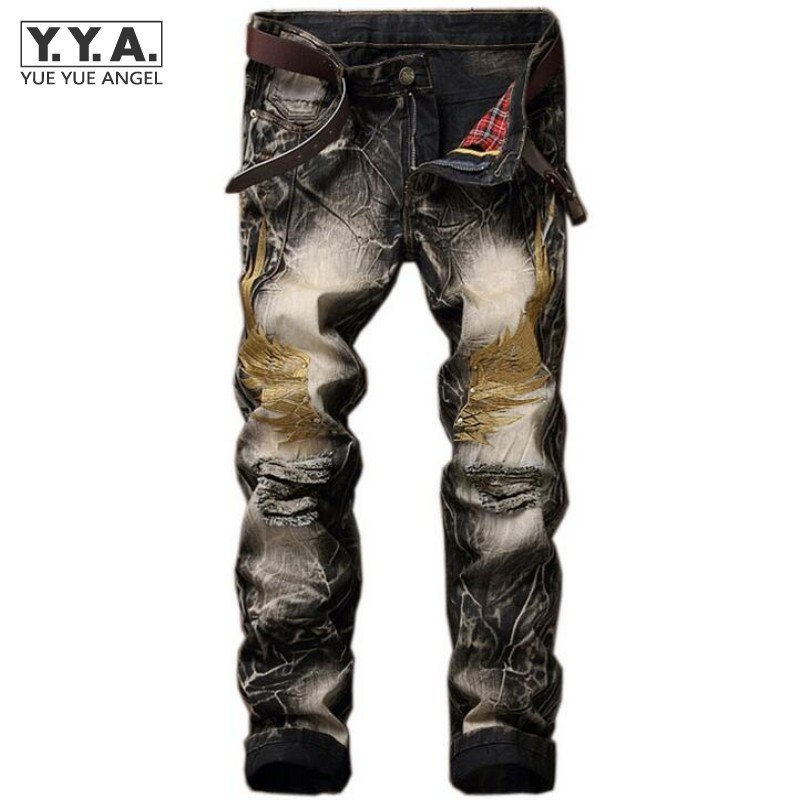 Hot Sale Summer Mens Retro Jeans Ripped Hole Male Slim Fit Denim Trousers Embroidery Wings Design Biker Jeans Pants Plus Size 42