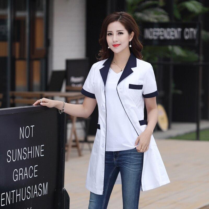 Summer Hospital Medical Robe Doctor's Uniform Lady Short Sleeve Medical Clothes Beauty Salon White Lab Coat Nurse Uniforms