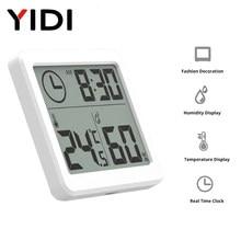 Tela lcd multifuncional termômetro higrômetro automático eletrônico monitor de umidade temperatura relógio 3.2 polegada grande
