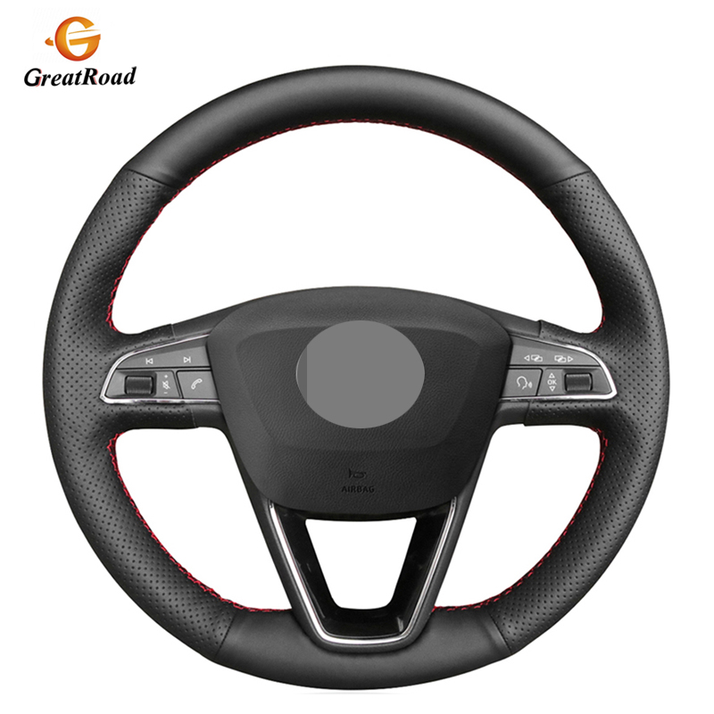 Black Artificial Leather Car Steering Wheel Cover For Seat Leon 5F Mk3 2013 2019 Ibiza 6J Tarraco Arona Ateca Alhambra|Steering Covers| |  - title=
