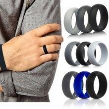 3Pcs Silikon Hochzeit Finger Ring Männer Frauen Schwarz Blau Grau Gummiband Umwelt Gummi Ringe Gym Größe 6-12