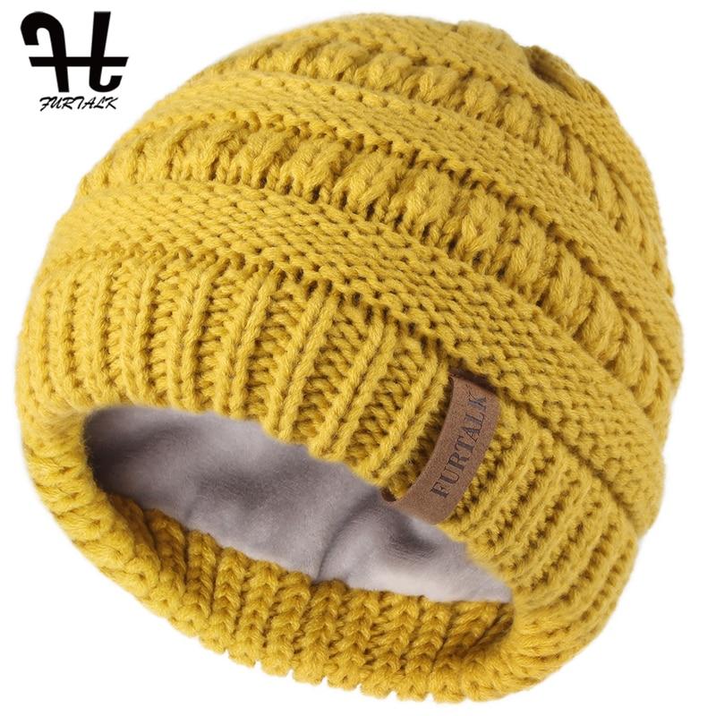 Kids Child Boy Girl Warm Winter Knit Thick Fleece Lined Beanie Crochet Hat Cap