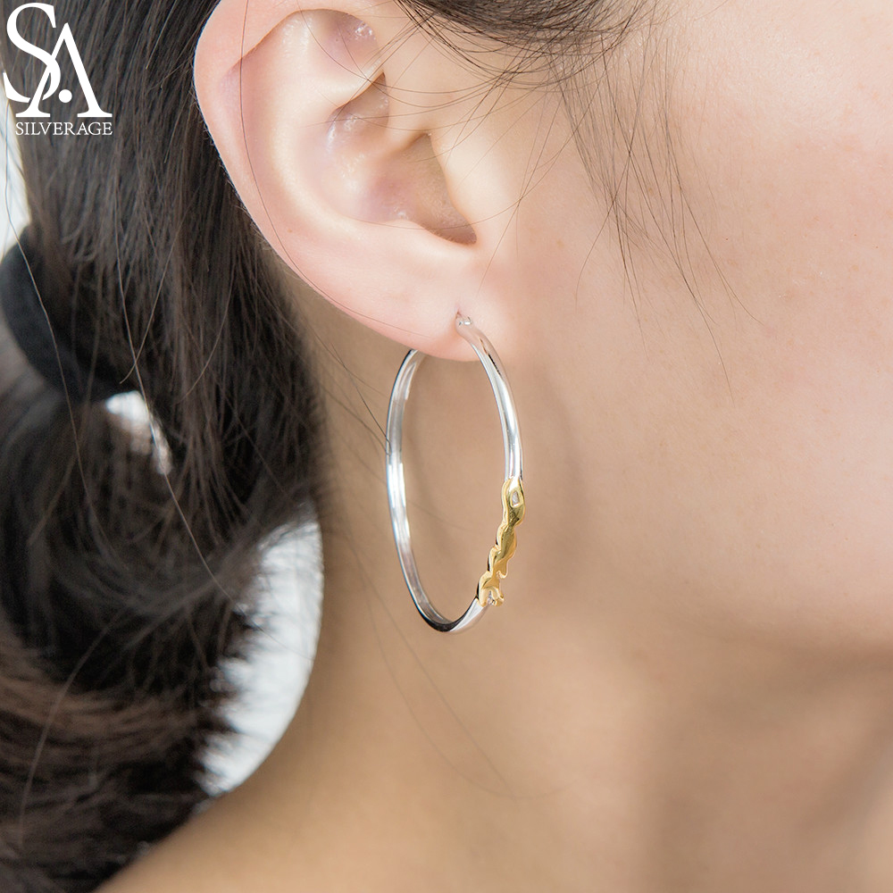 SA SILVERAGE 925 Sterling Big Hoop Earrings for Women Fine Jewelry Round...