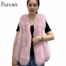2019 New Fox Fur Vest Long Style with Down Leather Waistcoat Winter Women Real Fur Gilets Russian Warm Fur Vests Fox Fur Hood camouflage zip up furry hood down waistcoat