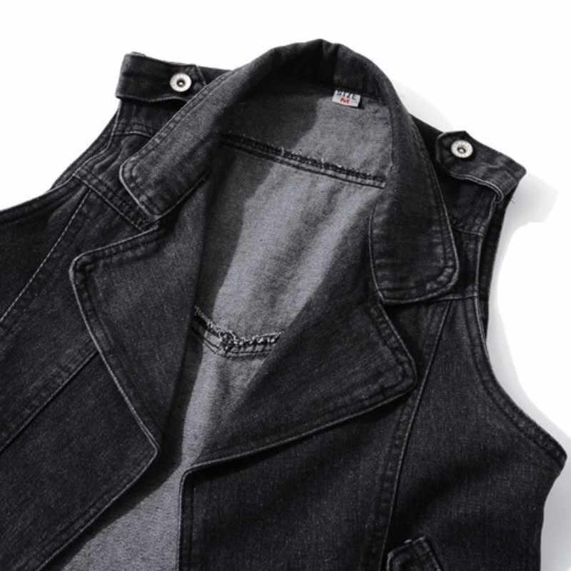 Casual Denim Mouwloze Jas Vrouwen Lente 2020 Zwarte Revers Korte Vest Plus Size 5XL High Street Vest Vest Vrouwelijke