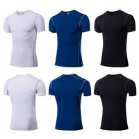 Men Casual Short Sleeve Quick drying Breathable Bottoming Round Collar T shirt Sports Tops