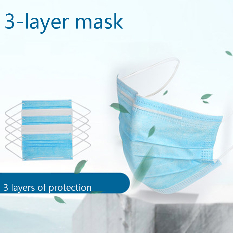 50 Pcs Face Mouth Mask Meltblown Cloth Dustproof Disposable Mouth Mask 95% Efficient Filtration As KN95 3 Layers