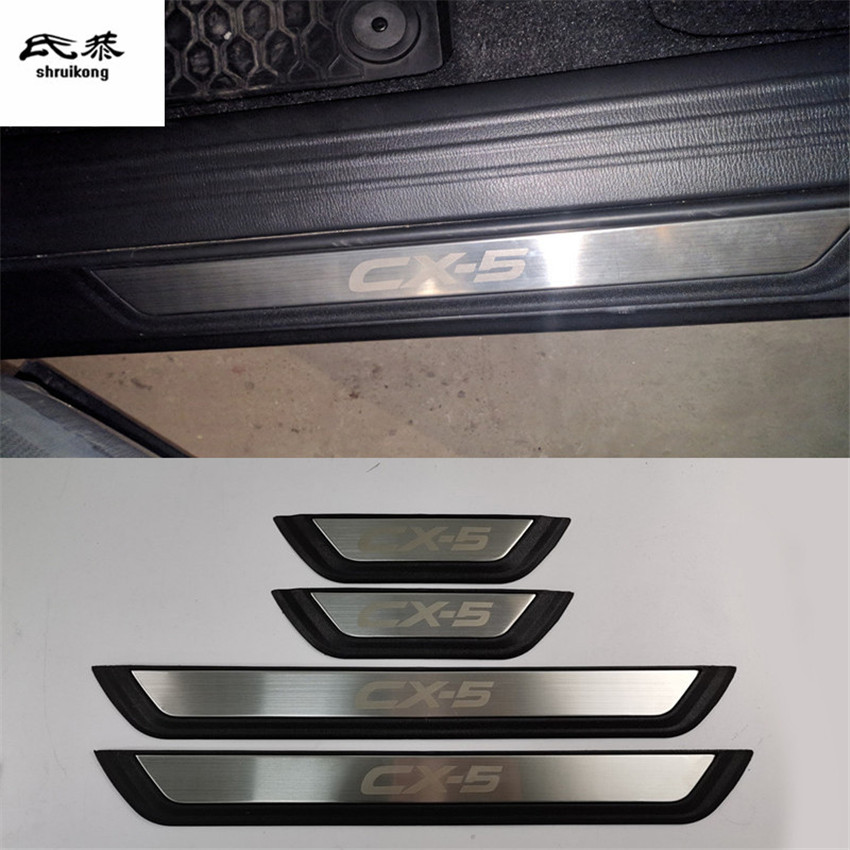 Free shipping 4pcs/lot ABS Stainless Steel Door Sill pedal Scuff Plate <font><b>for</b></font> 2017-2019 <font><b>Mazda</b></font> <font><b>CX</b></font>-<font><b>5</b></font> CX5 <font><b>CX</b></font> <font><b>5</b></font> KF car <font><b>accessories</b></font> image