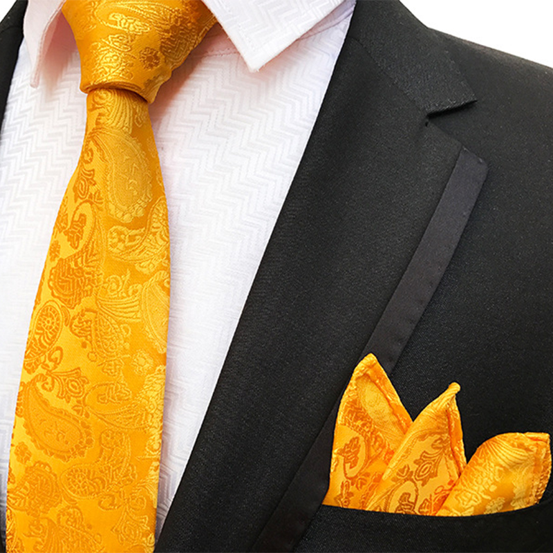 Luxury Paisley Polka Dot Tie Set Gold Green 8cm Handkerchief Neck Tie For Men Business Wedding Party Formal Ties Pocket Square