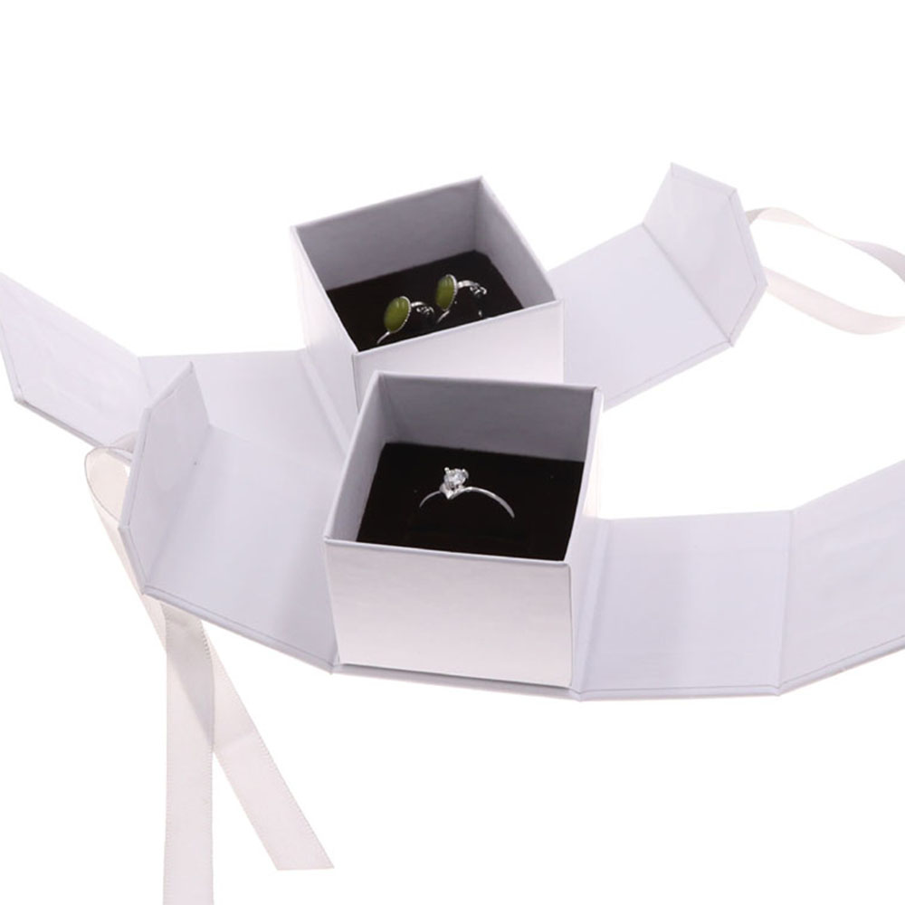 New Chic  Jewelry Box Paper Gray White Color Ribbon Bowknot Displays Box For Gifts Present Ring Earring Jewelry Packing Display