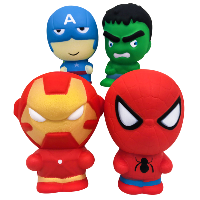 Jumbo Squishy Slow Rising Big Spiderman Iron Man Hulk Cartoon Doll Soft Squeeze Toy Stress Relief Fun For Kid Gift Toy
