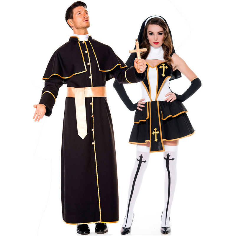 Men and women Halloween costume priest nun robes missionary fancy priest and nun role playing couple costumes nuns + socksM-XL image