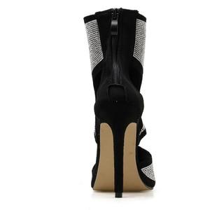 Image 2 - Pzilae Botas de tacón alto de aguja con punta abierta para mujer, botines, sandalias altas, adorno de cristal, para verano
