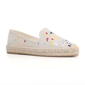 Image 4 - 2020 Denim Echte Nieuwe Schoenen 2019 Espadrilles Sapatos Zapatillas Mujer Platform Dame Slippers Voor Lente Flats Schoenen Mode