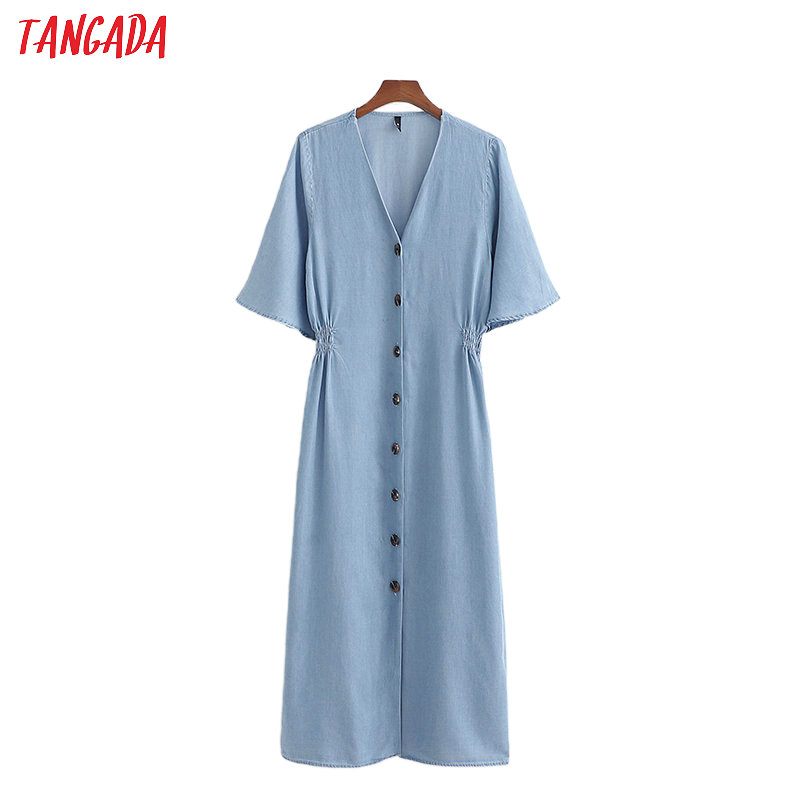 Tangada Fashion Women Blue Denim Summer Dress V Neck Short Sleeve Ladies Vintage Tunic Midi Dress Vestidos 1D200