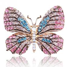Karopel Trendy Butterfly Brooches For Women Perfect Rhinestone Crystal Hijab Pins Christmas Gift