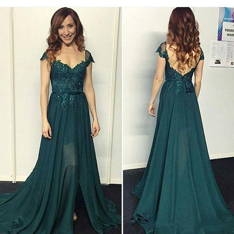 New Long Sexy   Prom     Dress   with Lace Appliques Soft Chiffon Evening Gowns Sweep Train Backless Custom Made Formal Party Gowns