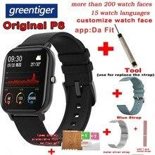 Greentiger P8 akıllı İzle erkekler tam dokunmatik spor izci kalp hızı monitörü kan basıncı oksijen akıllı saat hava Smartwatch